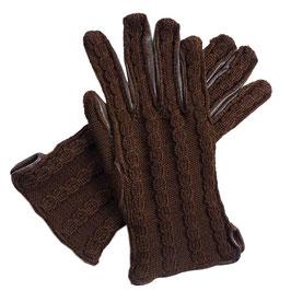 Handschuhe Gr. S/M Leder braun Strick 40s dunkelbraun VINTAGE 1940s