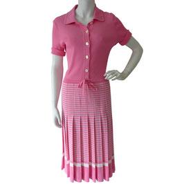 Kleid Gr. S Jersey VINTAGE 1970s rosa mit Streifen und Falten