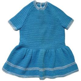 Mädchenkleid gehäkelt VINTAGE türkis 3-4 J