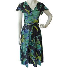 Kleid Gr. S schwarz mit Blumen VINTAGE 1970s Flatterärmel