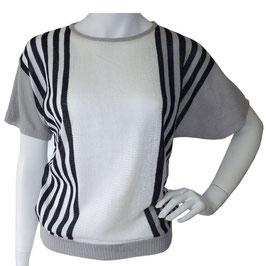 Pullover Gr. S/M kA Streifen grau-schwarz-weiss 60s