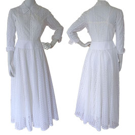 Kleid Hochzeitskleid Wedding dress Cotton VINTAGE 1950s Gr. XS/S