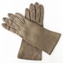 Handschuhe Gr. S Leder braun Seidenfutter hellbraun VINTAGE 1960s