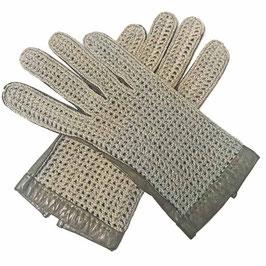 Herrenhandschuhe Gr. 8 1/2 grau Leder mit Häkel-Oberteil VINTAGE 1930s