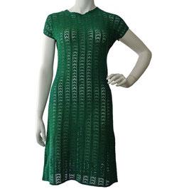 Kleid Gr. S Häkelkleid Baumwollgarn 1940s grün VINTAGE
