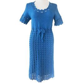 Kleid Gr. M handgestrickt/-gehäkelt türkis VINTAGE 1970s