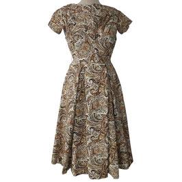 Kleid Gr. S Paisley Satin braun-hell VINTAGE 1950s