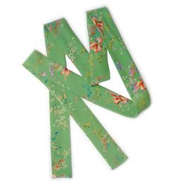 Seidenband lang Halsschmuck Gürtel Seide hellgrün Blütenmuster