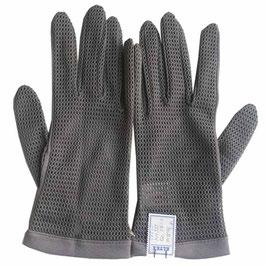 Handschuhe Stoff taupe grau Gr. 7.5/8 leicht VINTAGE 1960s