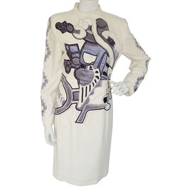 Kleid Gr. S KORII JOKO Designer 80s Wollkleid Graphic Design