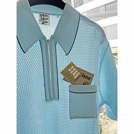 Herren-Netzpullover Gr. L/XL VINTAGE 1960s Polo hellblau mit Reissverschluss