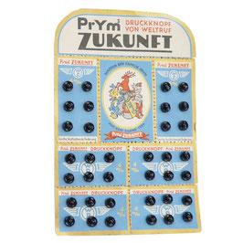 Druckknöpfe schwarz 6 mm PRYM Zukunft Originalkarte VINTAGE 1940s
