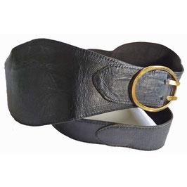 Gürtel schwarz 60s Leder 80 cm
