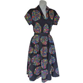 Kleid Gr. S Sommerensemble zweiteilig schwarz-bunt VINTAGE 1950s
