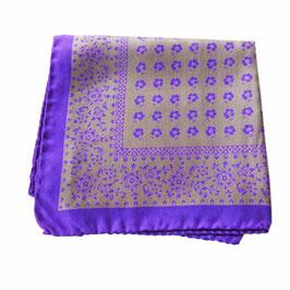 Pochette Einstecktuch Poschettli Seide handrolliert violett-grau VINTAGE 1980s