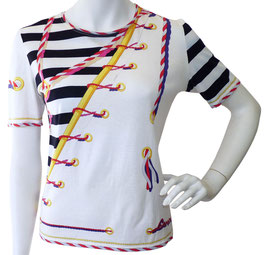 Top Gr. S weiss T-Shirt VINTAGE 1980s LEONARD Marinelook