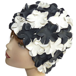Badekappe/Badehaube Blüten weiss-schwarz