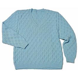 Pullover Gr. S/M Herren/Damen handgestrickt hellblau VINTAGE 1980s