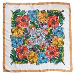 Foulard 80 x 80 cm Seide Scarf bunte Blumen swirly flowers VINTAGE 1960s