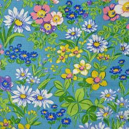 Stoff Baumwolle VINTAGE 1970s türkis-grün Blumen 3.80 m (120br)