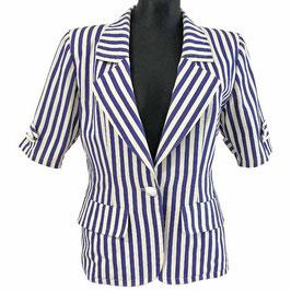 Jacke Gr. L Sommer Jacket YSL Yves St. Laurent Rive Gauche Designer VINTAGE 1980s Navy gestreift striped
