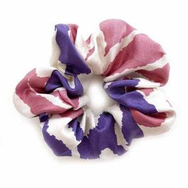 Scrunchie Seide lila-rosa-weiss made by Silvia-K