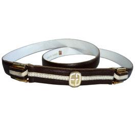 Gürtel Leder schmal braun-weiss 80s mit Clip 90