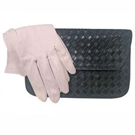 Täschchen Leder schwarz geflochten Made in Spain VINTAGE 1980s