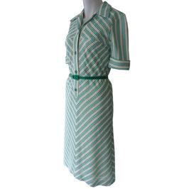 Kleid Gr. S Kunert gestreift offwhite-grün VINTAGE 1960s