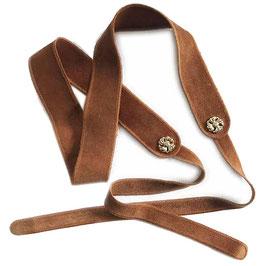 Gürtel zum Binden Gr. L Wildleder braun VINTAGE 1970s für Taillenweite 84 cm und mehr