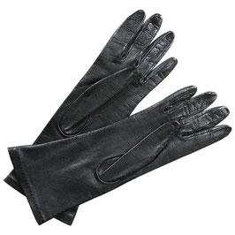 Handschuhe Gr. M Leder schwarz gefüttert VINTAGE 1970s