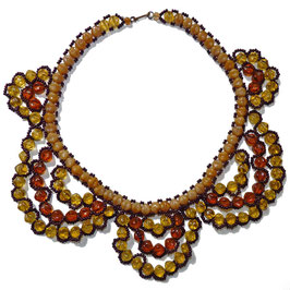 Halskette Collier Glas Bernsteinfarben VINTAGE ca. 1930s