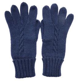 Handschuhe Strick dunkelblau Fingerhandschuhe Strick Wolle VINTAGE 1980s