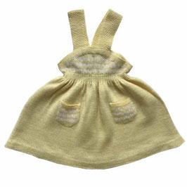 Babykleidchen 6-12 Monate handgestrickt hellgelb-weiss VINTAGE 1950s