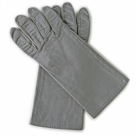 Handschuhe Gr. M Leder grau Seidenfutter VINTAGE 1970s