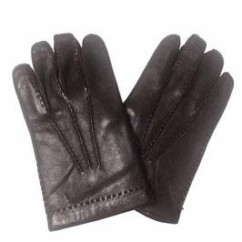 Herrenhandschuhe Gr. 8.5 dunkelbraun Handnähte Wollfutter VINTAGE 1950s