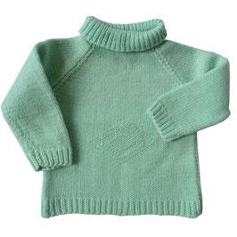 Babypullover handgestrickt VINTAGE 1980s pastell-türkis 3-6 Mt