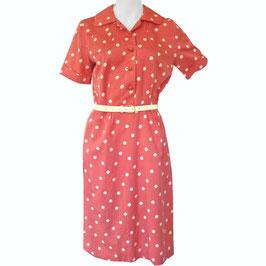 Kleid Gr. S/M altrosa mit Punkten Viscose VINTAGE 1960s