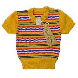 Babypullover VINTAGE 1960s NEU gelb-bunt 6-8 Mte