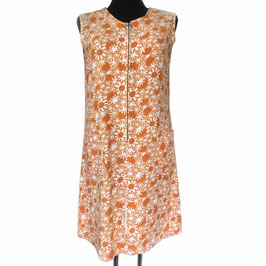 Kleid Frottéekleid Gr. 42 orange-weiss VINTAGE 1970s