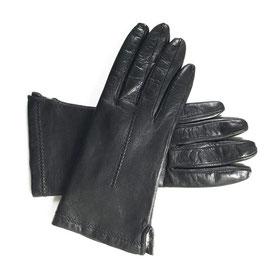 Handschuhe Gr. S/M Leder schwarz gefüttert Fell VINTAGE 1970s