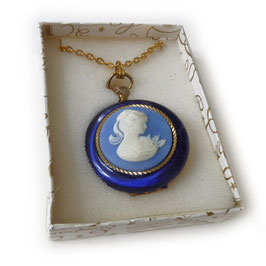 Halskette mit Anhänger Gemme blau zum Aufklappen 70s