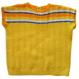 Pullover handgestrickt VINTAGE knallgelb 5-6 J