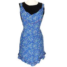 Schürze blau mit feinen Blümchen, Rüschen very vintage, 1930s mit Rüschen