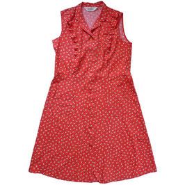 Kleid Gr. L Sommerkleidchen 70s BW rot mit Blümchen
