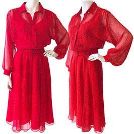 Kleid Gr. S/M Chiffon rot SORA transp. Ärmel, VINTAGE 1970s