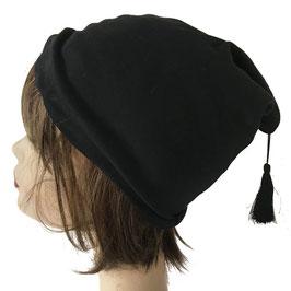 Mütze schwarz Sennenmütze Baumwolljersey mit Zottel VINTAGE 1960s