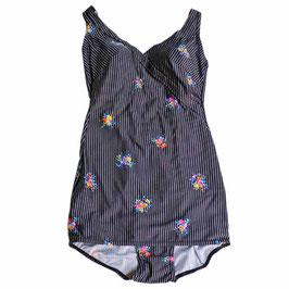 Badekleid Gr. M/L Badeanzug 70s schwarz Blumenbouquets Schösschen