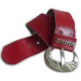 Gürtel Leder rot breit Metallschnalle 82-92 cm