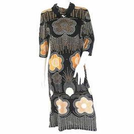 Kleid Jersey Gr. XS/S Léonard Paris grosses Muster VINTAGE 1960s